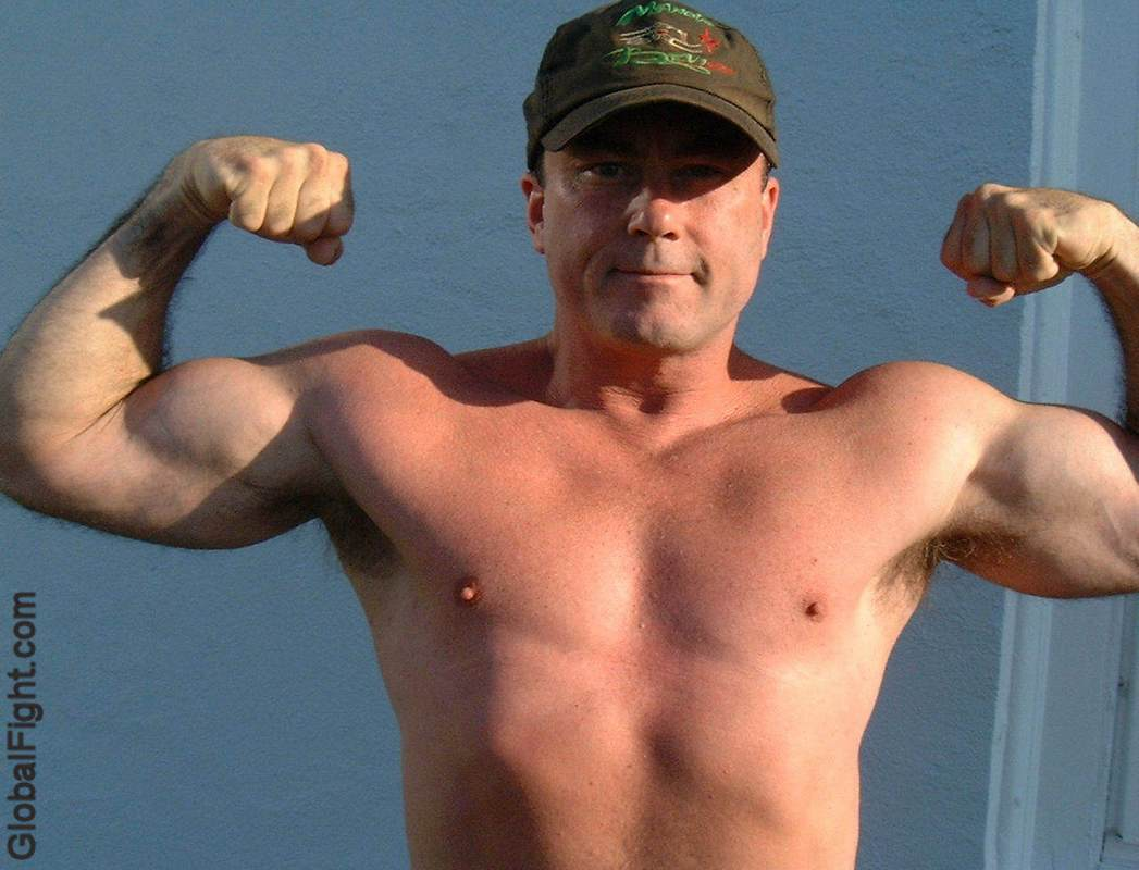 biceps army daddy flexing muscled military fighter