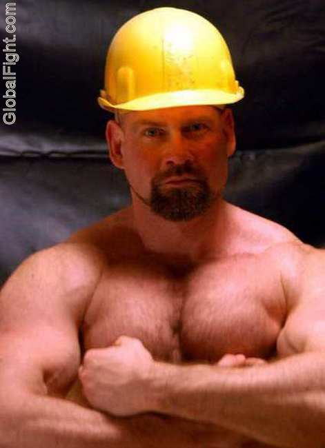 construction man goatee beard