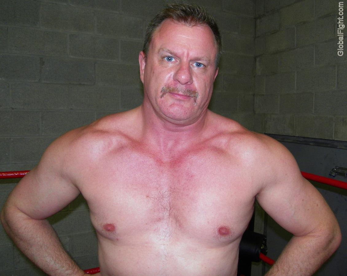 hot hunky blue eyes eyed wrestler moustache man