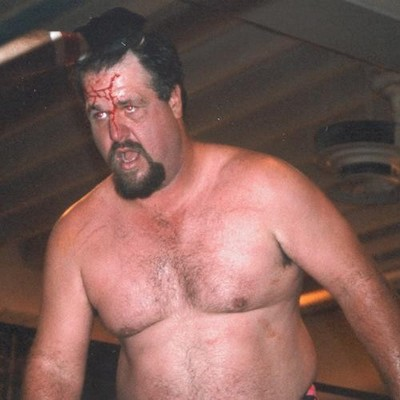hairychest daddy bear bloody face pro wrestling match