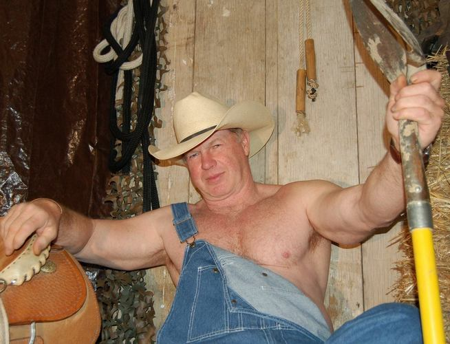 shirtless rodeo cowboy bear coveralls overalls