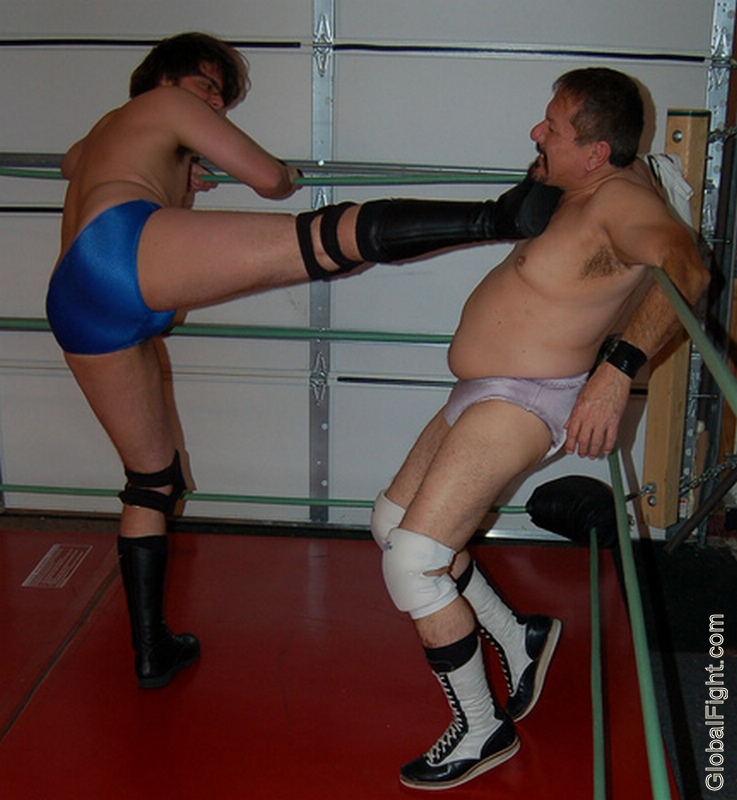tiedup on ropes man kicked into turnbuckles wrestling