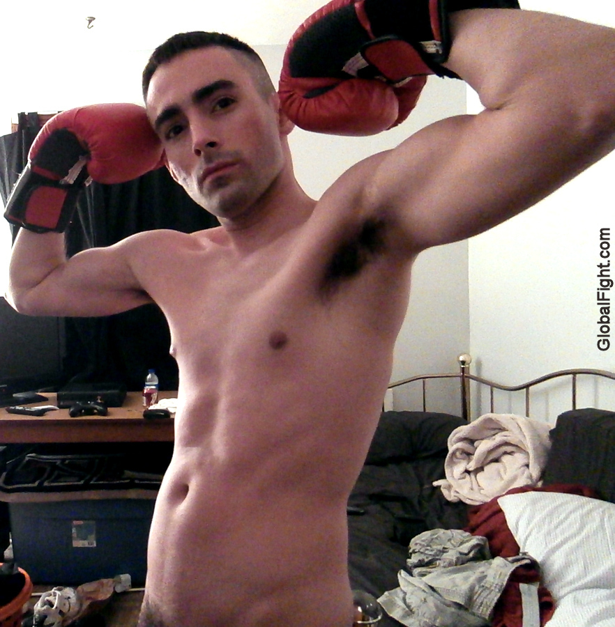 boxing bedroom roughhousing guy